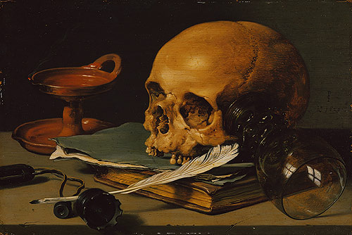Still Life with a Skull and a Writing Quill, 1628