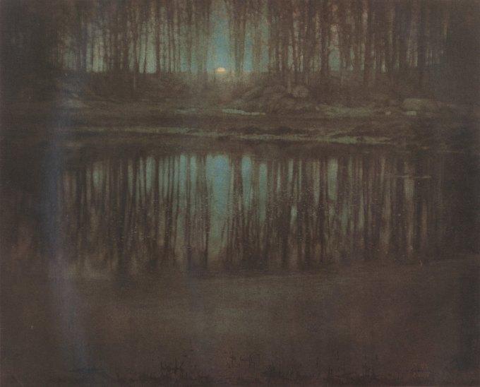 Steichen's The Pond—Moonlight, multiple gum bichromate print, 1904.