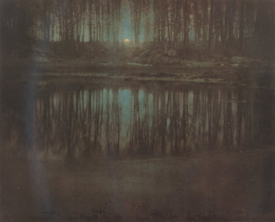 Steichen's The Pond—Moonlight, multiple gum bichromate print, 1904.
